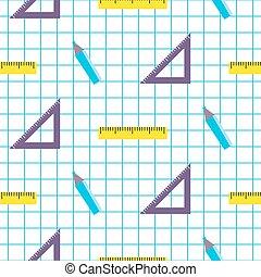 School objects vector seamless pattern.