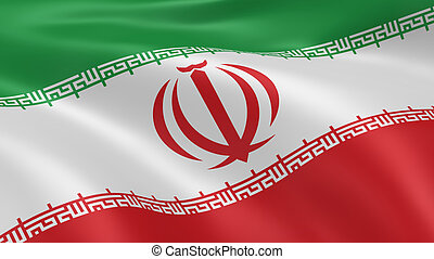 Iranian flag in the wind. Part of a series.