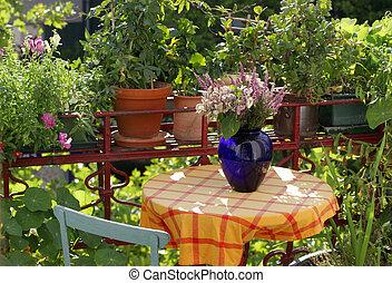 plantas, flores, Balcón
