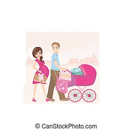 beautiful pregnant woman and her husband on shopping