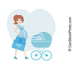 pregnant woman with a blue baby carrier full of presents