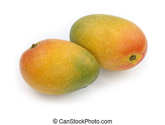 Two mangoes - Two ripe mangoes on white background