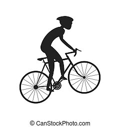 silhouette person riding bike with helmet icon
