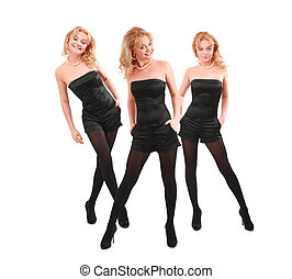 Three smiling blondes in black, collage