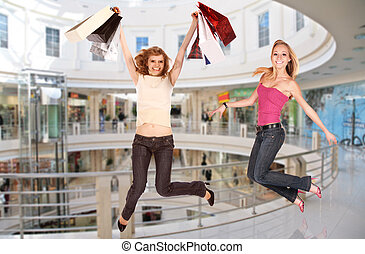 jumping girls in business center, collage