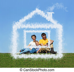 family with son sitting cloud house on meadow collage