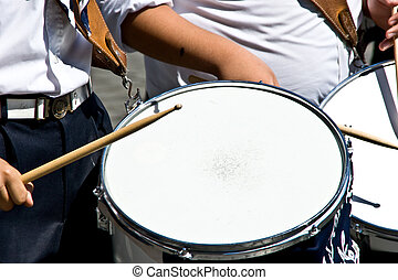 Marching Band - A closeup on one of the drums of a marching...