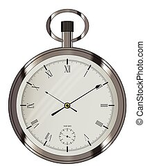 Silver Pocket Watch - An old fashioned fob style silver...