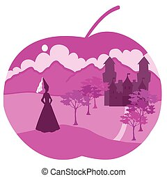 apple with princess - It is a vector illustration of apple...