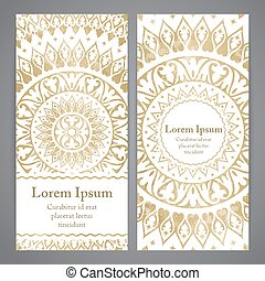 Vector banners with mandala in gold color Based on ancient...