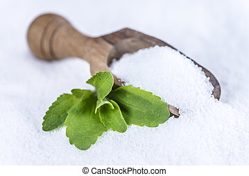 Stevia (granular; selective focus) - Portion of Stevia...