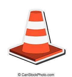 traffic cone icon - flat design traffic cone icon vector...