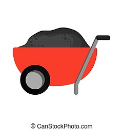 filled wheelbarrow icon - flat design filled wheelbarrow...