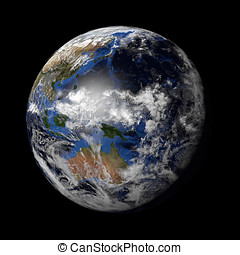Planet Earth with night and day and clouds black - 3d render...