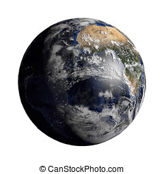 Planet Earth with night and day and clouds white - 3d render...