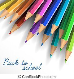 Vector Back to school poster with crayons
