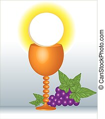 first Communion, Eucharist - It is a vector illustration of...