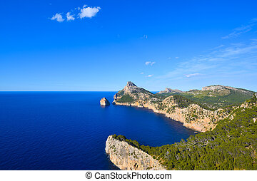 Cape Formentor peninsula and deep blue sea on the island of...