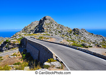 The Spiral bridge on the mountain road to Sa Calobra on...