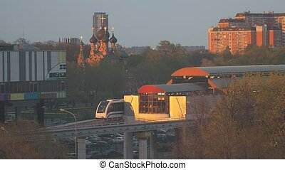 The Moscow monorail train in the area of Ostankino TV center...