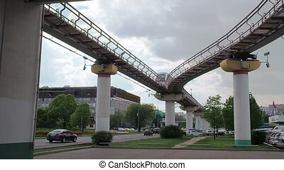 The Moscow monorail train in the area of Ostankino TV center