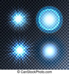 Set of four glowing light effect stars bursts with sparkles.
