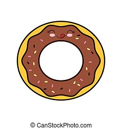 donut breakfast food menu icon Isolated and flat vecctor...