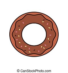 donut breakfast food menu icon. Isolated and flat vecctor...