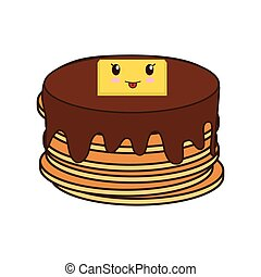 pancakes breakfast food menu icon. Isolated and flat vecctor...