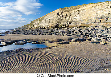 Dunraven Bay, or Southerndown beach, with limestone cliffs -...