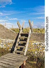 Ladder Stile, South Wales - Typical ladder stile, over wall,...