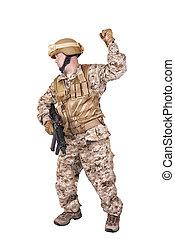 soldado, em, uniforme