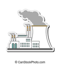 nuclear plant icon - flat design nuclear plant icon vector...