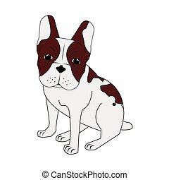 french bulldog icon - flat design french bulldog icon vector...