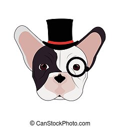 hipster french bulldog icon