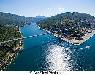 Aerial view of Dubrovnik bridge - entrance to the city.