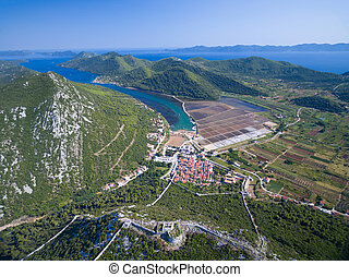 Aerial view of saltworks in Ston town - Aerial view of...