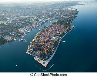 Aerial view of the old city Zadar. - Aerial view of the old...