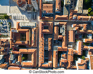 Aerial view of the old city Zadar - Aerial view of the old...