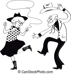 Old school western - Vector line art of a senior couple...