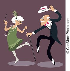 Old timers - Cartoon elderly couple dancing the Charleston,...