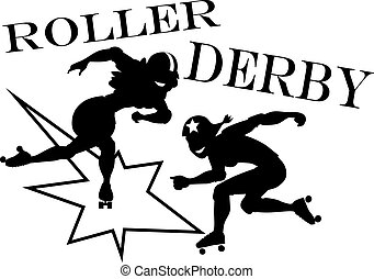 Roller derby clip-art - Two roller derby players, EPS 8...