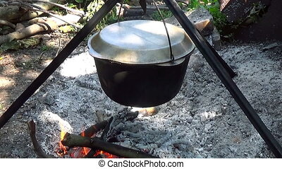Camp food tourists Cooked on a fire Hand throws branches on...