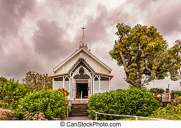 St. Benedicts painted church on Big Island in Hawaii