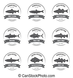 Vector fish silhouettes, labels, emblems. Salmon, herring,...