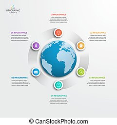 Circle infographic template with globe with 6 options....