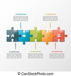 Vector 5 steps puzzle style timeline infographic template....