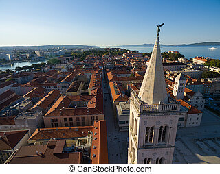 Aerial view of angel on top St Anastasia cathedralin Zadar....