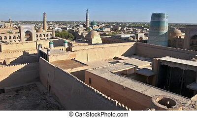 Aerial view on streets of the old city. Uzbekistan. Khiva. -...