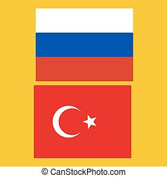 Flags of Russia and Turkey vector illustration